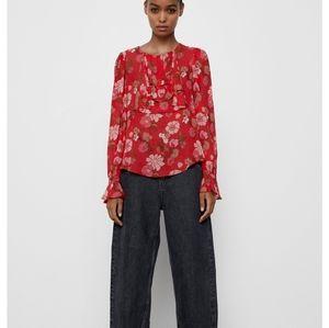 Zara Floral Ruffled Viscose Blouse